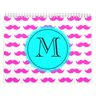Hot Pink Mustache Pattern, Aqua Black Monogram Calendar