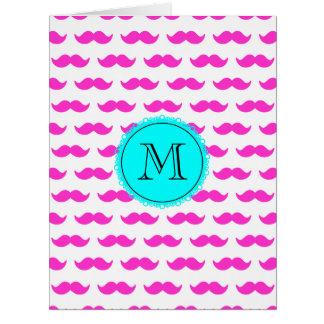 Hot Pink Mustache Pattern, Aqua Black Monogram Card