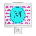 Hot Pink Mustache Pattern, Aqua Black Monogram Nite Lights