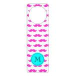 Hot Pink Mustache Pattern, Aqua Black Monogram Door Hanger