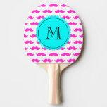 Hot Pink Mustache Pattern, Aqua Black Monogram Ping Pong Paddle