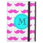 Hot Pink Mustache Pattern, Aqua Black Monogram iPad Cover