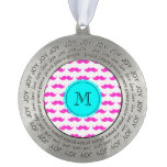 Hot Pink Mustache Pattern, Aqua Black Monogram Round Ornament
