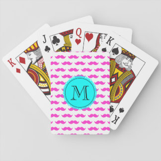 Hot Pink Mustache Pattern, Aqua Black Monogram Card Decks