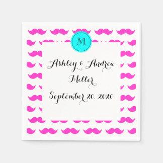Hot Pink Mustache Pattern, Aqua Black Monogram Paper Napkin
