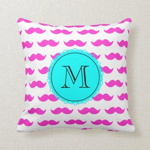 Hot Pink Mustache Pattern, Aqua Black Monogram Throw Pillow