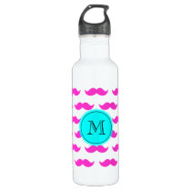 Hot Pink Mustache Pattern, Aqua Black Monogram Stainless Steel Water Bottle
