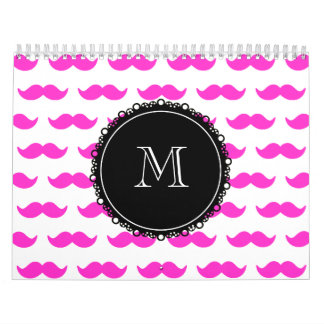 Hot Pink Mustache Pattern, Black White Monogram Calendars