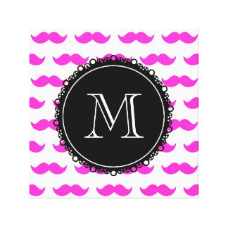 Hot Pink Mustache Pattern, Black White Monogram Canvas Print
