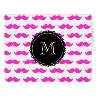 Hot Pink Mustache Pattern, Black White Monogram Card