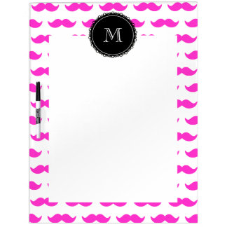 Hot Pink Mustache Pattern, Black White Monogram Dry Erase White Board