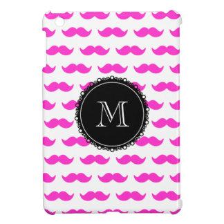 Hot Pink Mustache Pattern, Black White Monogram iPad Mini Case