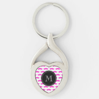 Hot Pink Mustache Pattern, Black White Monogram Keychain