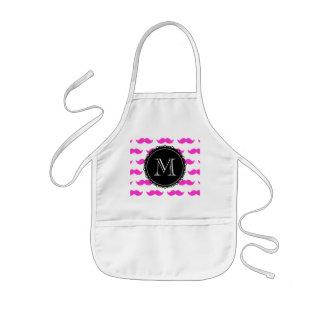 Hot Pink Mustache Pattern, Black White Monogram Kids' Apron