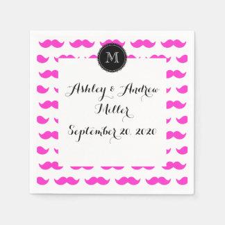 Hot Pink Mustache Pattern, Black White Monogram Paper Napkin