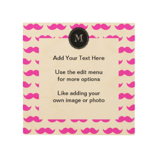 Hot Pink Mustache Pattern, Black White Monogram Wood Wall Decor