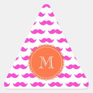 Hot Pink Mustache Pattern, Coral White Monogram Triangle Sticker