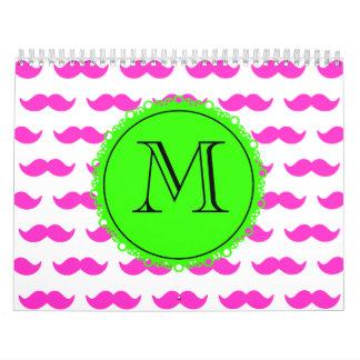 Hot Pink Mustache Pattern, Green Black Monogram Wall Calendars