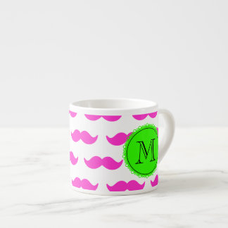 Hot Pink Mustache Pattern, Green Black Monogram Espresso Cup