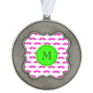 Hot Pink Mustache Pattern, Green Black Monogram Scalloped Pewter Christmas Ornament