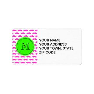 Hot Pink Mustache Pattern, Green Black Monogram Label