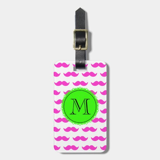 Hot Pink Mustache Pattern, Green Black Monogram Tags For Bags