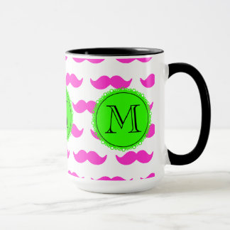 Hot Pink Mustache Pattern, Green Black Monogram Mug