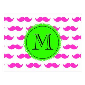 Hot Pink Mustache Pattern, Green Black Monogram Postcard