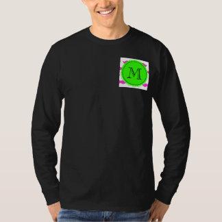 Hot Pink Mustache Pattern, Green Black Monogram T-Shirt
