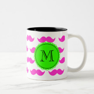 Hot Pink Mustache Pattern, Green Black Monogram Two-Tone Coffee Mug