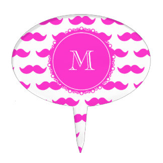 Hot Pink Mustache Pattern, Hot Pink White Monogram Cake Topper
