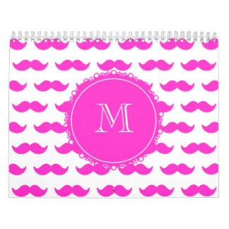 Hot Pink Mustache Pattern, Hot Pink White Monogram Calendar
