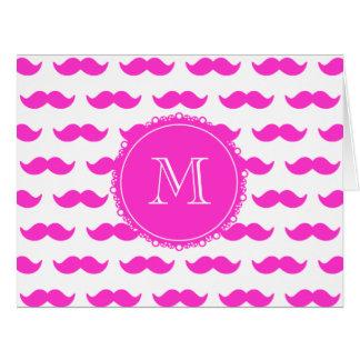 Hot Pink Mustache Pattern, Hot Pink White Monogram Card