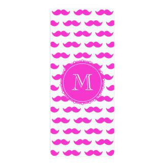 "Hot Pink Mustache Pattern, Hot Pink White Monogram 4"" X 9.25"" Invitation Card"