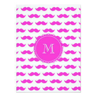 Hot Pink Mustache Pattern, Hot Pink White Monogram 5.5x7.5 Paper Invitation Card