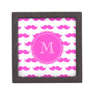 Hot Pink Mustache Pattern, Hot Pink White Monogram Jewelry Box
