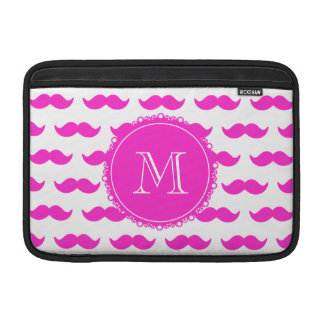 Hot Pink Mustache Pattern, Hot Pink White Monogram MacBook Air Sleeve