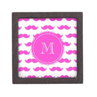 Hot Pink Mustache Pattern Hot Pink White Monogram Premium Jewelry Box