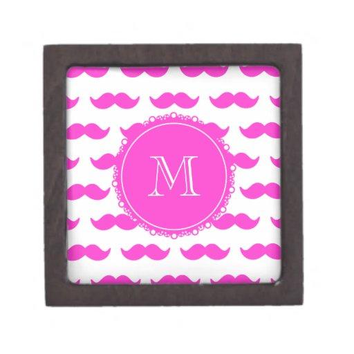 Hot Pink Mustache Pattern, Hot Pink White Monogram Premium Jewelry Box