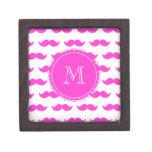 Hot Pink Mustache Pattern, Hot Pink White Monogram Premium Gift Boxes