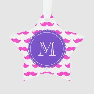 Hot Pink Mustache Pattern, Purple White Monogram