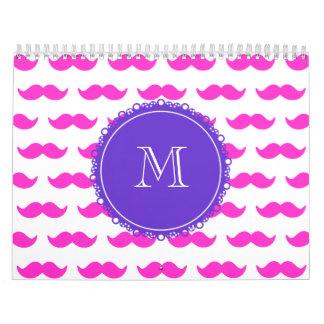 Hot Pink Mustache Pattern, Purple White Monogram Wall Calendars