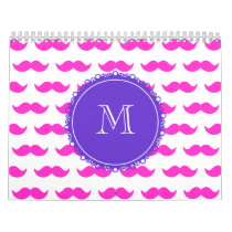 Hot Pink Mustache Pattern, Purple White Monogram Calendar
