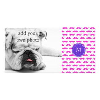 Hot Pink Mustache Pattern, Purple White Monogram Card