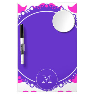 Hot Pink Mustache Pattern, Purple White Monogram Dry-Erase Board