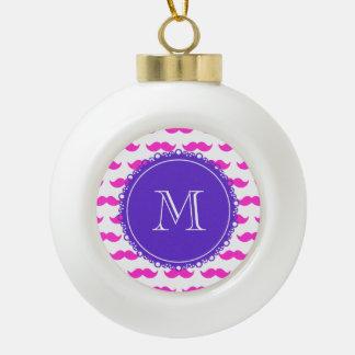 Hot Pink Mustache Pattern, Purple White Monogram Ornaments
