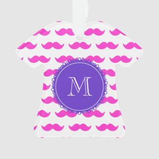 Hot Pink Mustache Pattern, Purple White Monogram Ornament