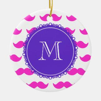 Hot Pink Mustache Pattern, Purple White Monogram Christmas Tree Ornament