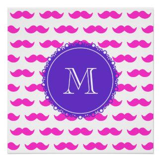 Hot Pink Mustache Pattern, Purple White Monogram Poster