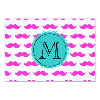 Hot Pink Mustache Pattern, Teal Black Monogram Card